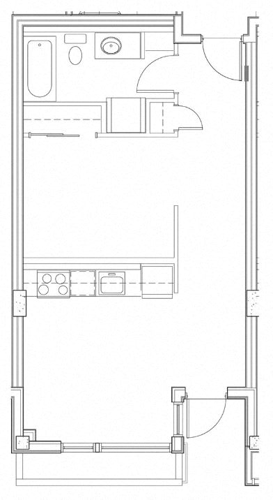 Floor Plan  Open One Bedroom