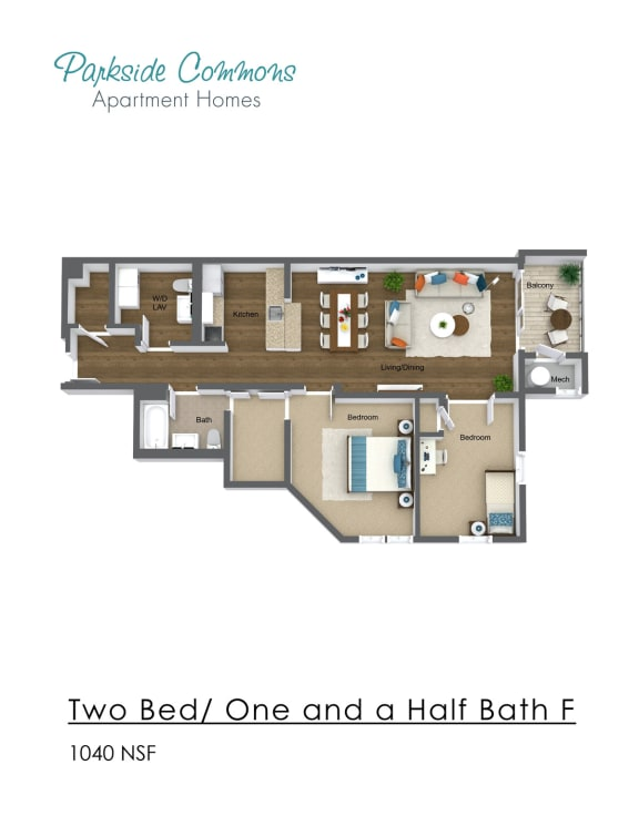 Floor Plan  1040 SQ FT 2 BED X1.5 BA