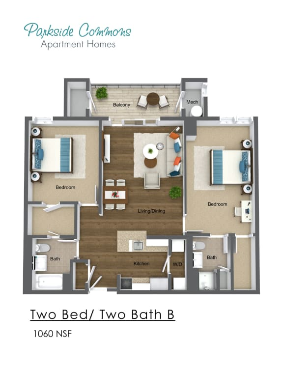 Floor Plan  1060 SQ FT 2X2
