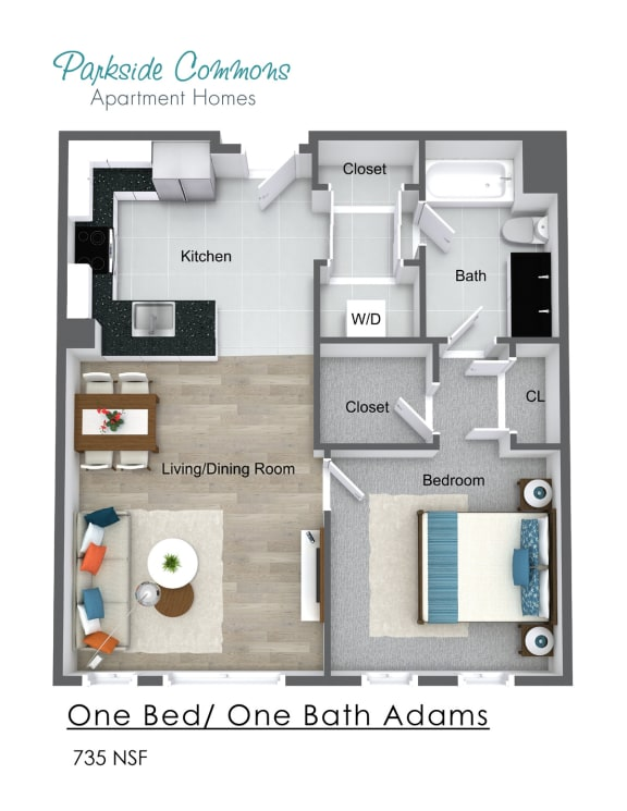 Floor Plan  735 SQ FT CHELSEA PLACE