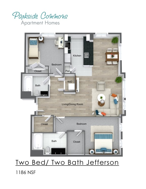 Floor Plan  Two Bedroom Two Bath Building 2