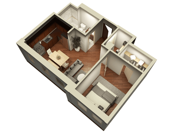 1 Bed 1 Bath 576 sqft 3D Floor Plan at Somerset Place Apartments, Chicago, IL, 60640