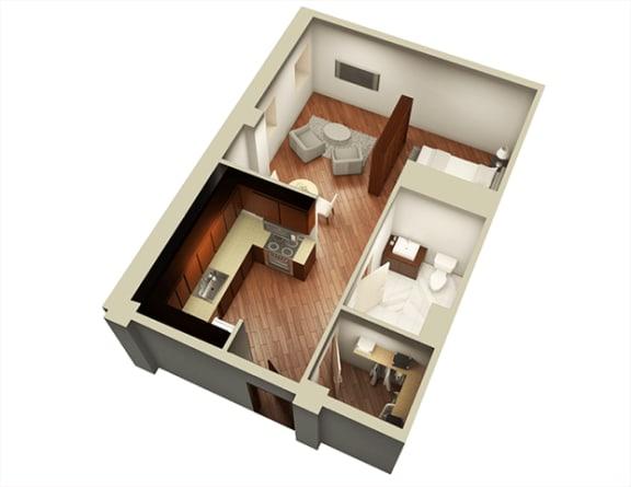 Studio 606 sqft 3D Floor Plan at Somerset Place Apartments, Chicago, IL