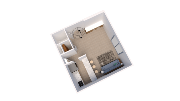 Floor Plan  Efficiency Floor Plan at Candlewyck Apartments, Kalamazoo, MI