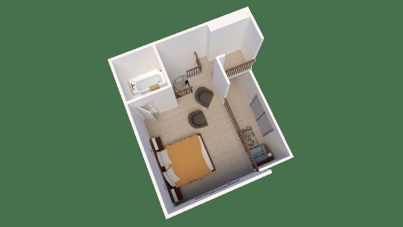 Efficiency Floor Plan at Candlewyck Apartments, Kalamazoo, MI
