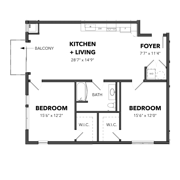 Bakery Living Two Bedroom 5, apartments in Pittsburgh, Pennsylvania 15206