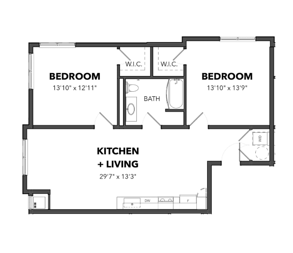 Floor Plan  Bakery Living Two Bedroom 3, apartments in Pittsburgh, 15206