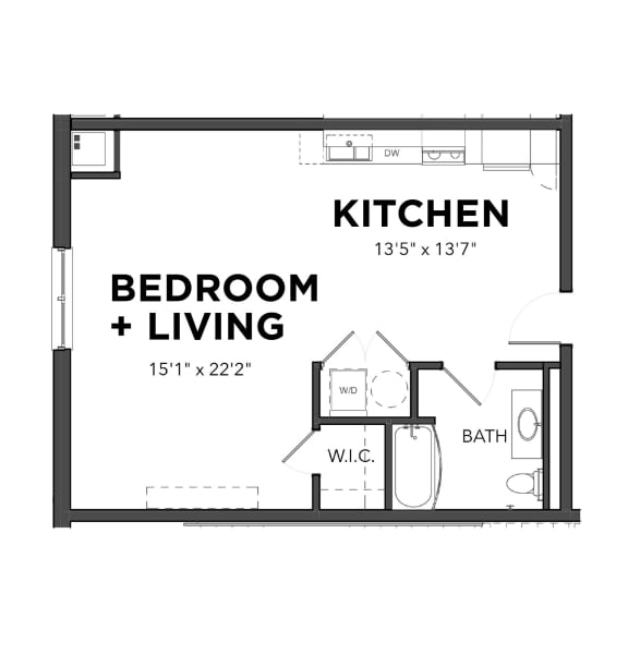 Floor Plan  Bakery Living Studio 3, apartments in Pittsburgh, Pennsylvania