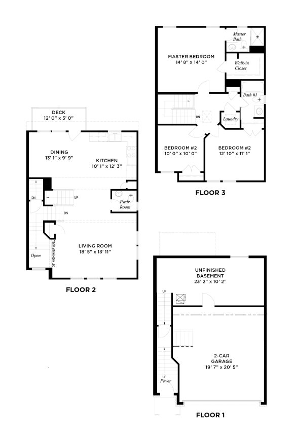 The Muirfield Floorplan, Highland Village Townhomes in Ross Township, Pittsburgh, PA