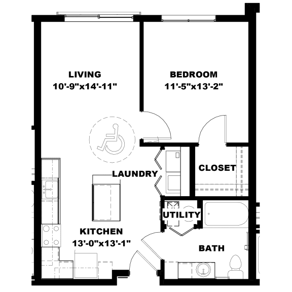 Hot Metal Flats A1-A floorplan, Hot Metal Flats apartments, Pittsburgh, PA