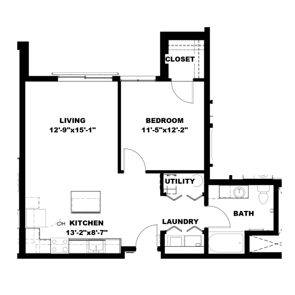 Hot Metal Flats A2 floorplan, Hot Metal Flats apartments, Pittsburgh, PA