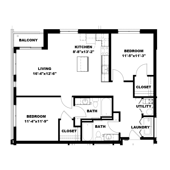 Hot Metal Flats B2 floorplan, Hot Metal Flats apartments, Pittsburgh, PA