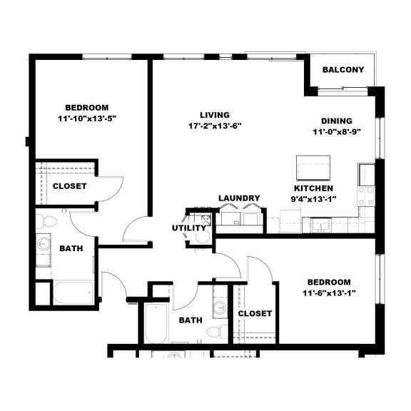 Hot Metal Flats B3 Floorplan, Hot Metal Flats apartments, Pittsburgh, PA