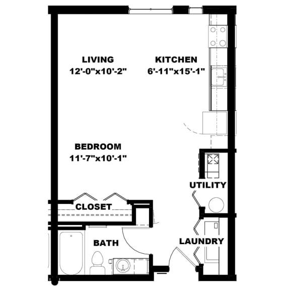 Hot Metal Flats E1 floorplan, Hot Metal Flats apartments, Pittsburgh, PA