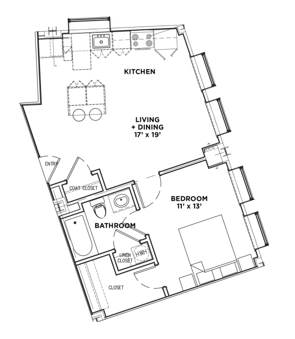 Floor Plan  1 BR 1 Bath Suite A (Highland Building)Bed/Bath, Walnut on Highland in East End Pittsburgh, PA