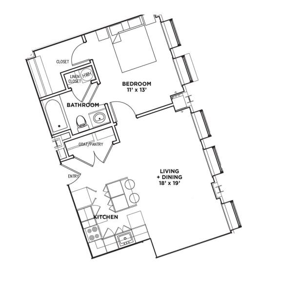 Floor Plan  1 BR 1 Bath Suite B (Highland Building), Walnut on Highland in East Liberty Neighborhood of Pittsburgh