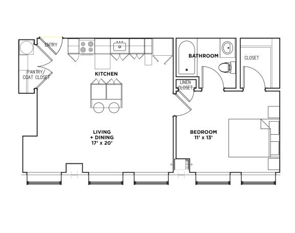 Floor Plan  Floor Plan1 BR 1 Bath Suite D (Highland Building)Bed/Bath, Walnut on Highland in East End Pittsburgh, PA
