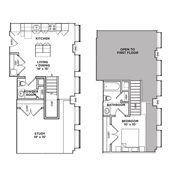 Floor Plan  Floor Plan1.5 BR 1.5 Bath Suite E Loft (Highland Building), Walnut on Highland in East Liberty Neighborhood of Pittsburgh