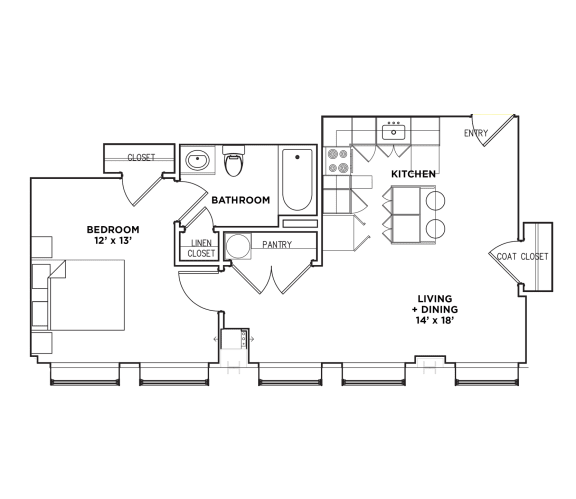Floor Plan  1 BR 1 Bath Suite E (Highland Building), Walnut on Highland in East End Pittsburgh, PA