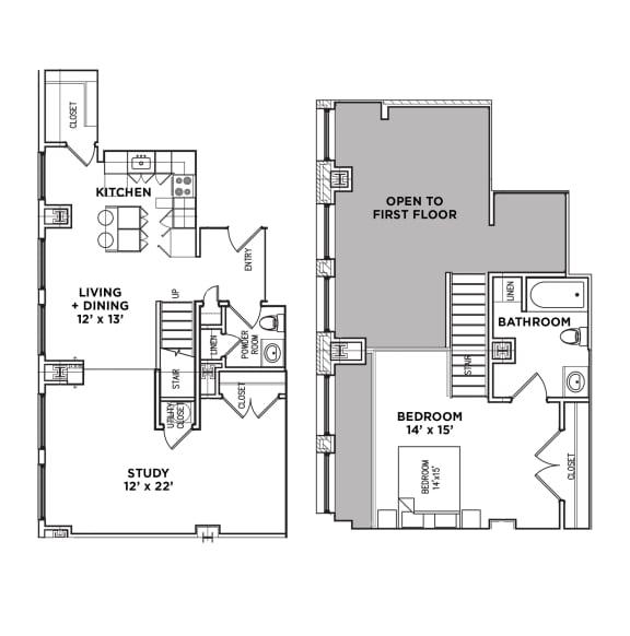 Floor Plan  1.5 BR 1.5 Baths Suite F Loft (Highland Building)Bed/Bath, Walnut on Highland in East Liberty Neighborhood of Pittsburgh