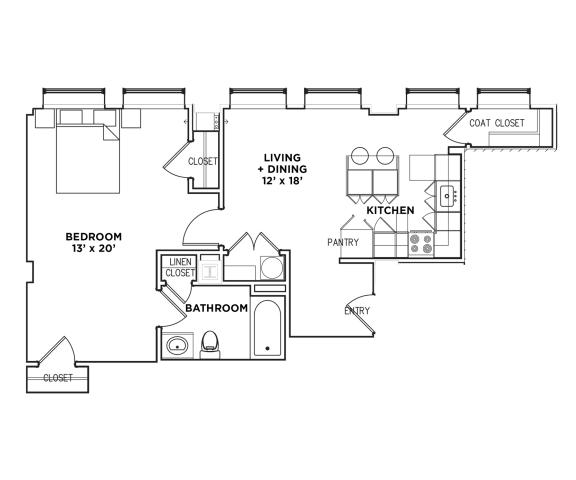 Floor Plan  1 BR 1 Bath Suite F (Highland Building)Bed/Bath, Walnut on Highland in East Liberty Neighborhood of Pittsburgh
