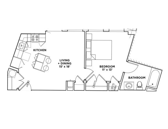 Floor Plan  1 BR 1 Bath Suite G (Highland Building), Walnut on Highland in East Liberty Neighborhood of Pittsburgh