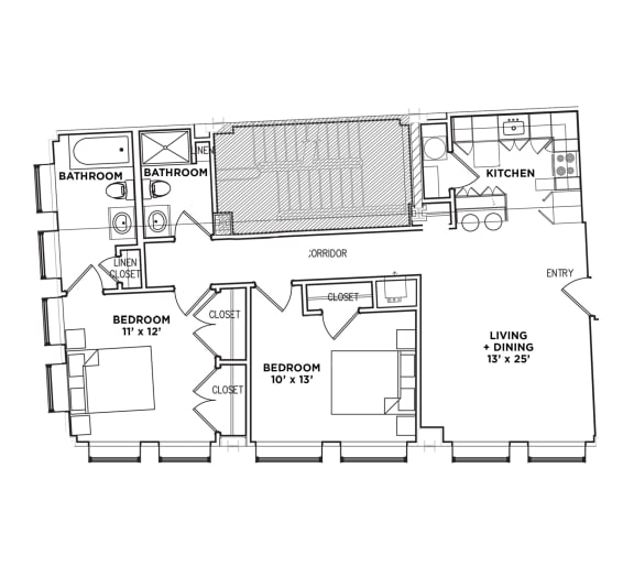 Floor Plan  2 BR 1 Bath Suite H1 (Highland Building), Walnut on Highland in East End Pittsburgh, PA