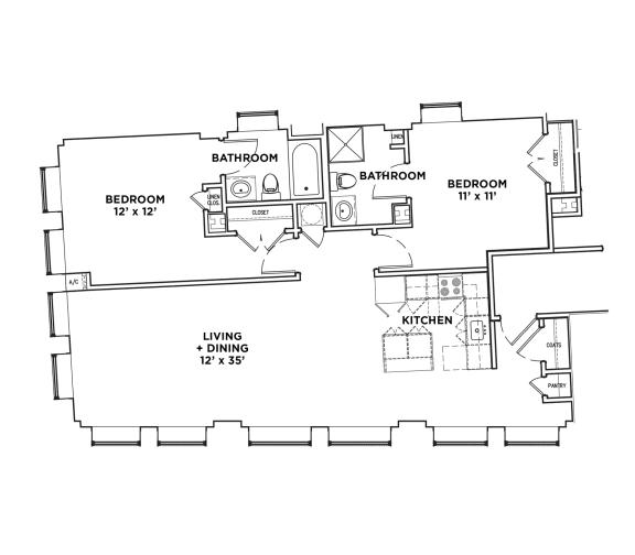 Floor Plan  Floor Plan2 BR 1 Bath Suite H2 (Highland Building)Bed/Bath, Walnut on Highland in East Liberty Neighborhood of Pittsburgh