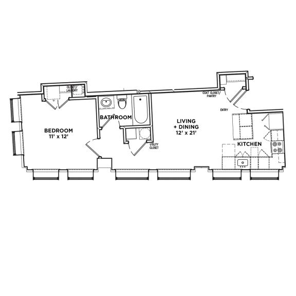 Floor Plan  Floor Plan1 BR 1 Bath Suite H3 (Highland Building), Walnut on Highland in East End Pittsburgh, PA