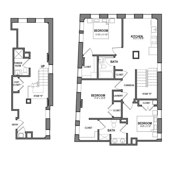Floor Plan  3 BR 2.5 Bath Suite J (Highland Building), Walnut on Highland in East Liberty Neighborhood of Pittsburgh