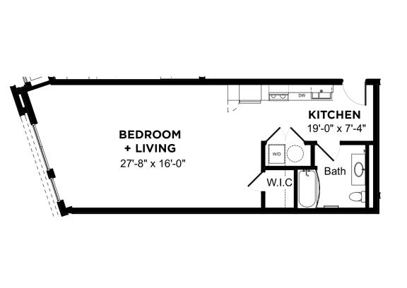 Floor Plan  Walnut on Highland The Penn D2, Walnut on Highland in East Liberty Neighborhood of Pittsburgh