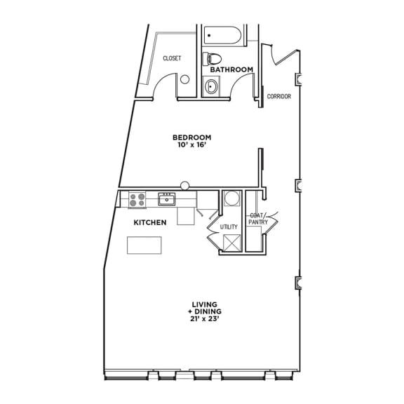 Floor Plan  Floor Plan1 BR 1 Bath Suite B-W (Highland Building)Bed/Bath, Walnut on Highland in East Liberty Neighborhood of Pittsburgh