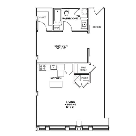 Floor Plan  Floor Plan1 BR 1 Bath Suite C-W (Highland Building), Walnut on Highland in East Liberty Neighborhood of Pittsburgh