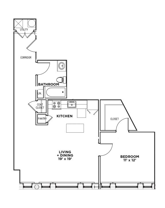 Floor Plan  1 BR 1 Bath Suite D-W (Highland Building), Walnut on Highland in East Liberty Neighborhood of Pittsburgh