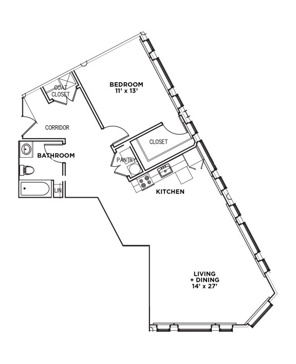 Floor Plan  Floor Plan1 BR 1 Bath Suite E-W (Highland Building)Bed/Bath, Walnut on Highland in East Liberty Neighborhood of Pittsburgh