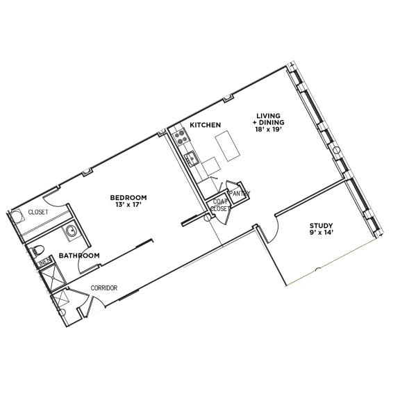 Floor Plan  Floor Plan1 BR w/ Den 1 Bath Suite F-W (Highland Building)Bed/Bath, Walnut on Highland in East Liberty Neighborhood of Pittsburgh
