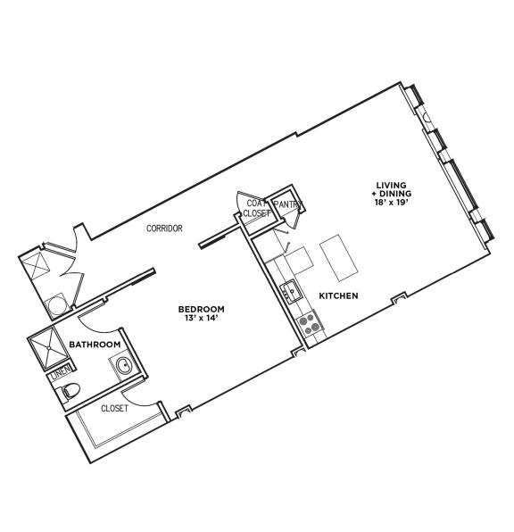 Floor Plan  1 BR 1 Bath Suite G-W (Highland Building)Bed/Bath, Walnut on Highland in East Liberty Neighborhood of Pittsburgh