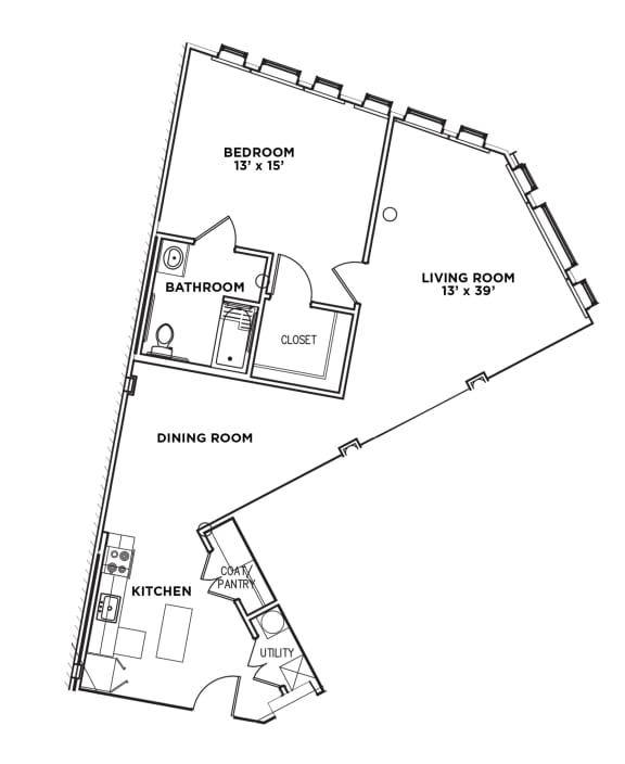 Floor Plan  1 BR 1 Bath Suite J-W (Highland Building), Walnut on Highland in East Liberty Neighborhood of Pittsburgh