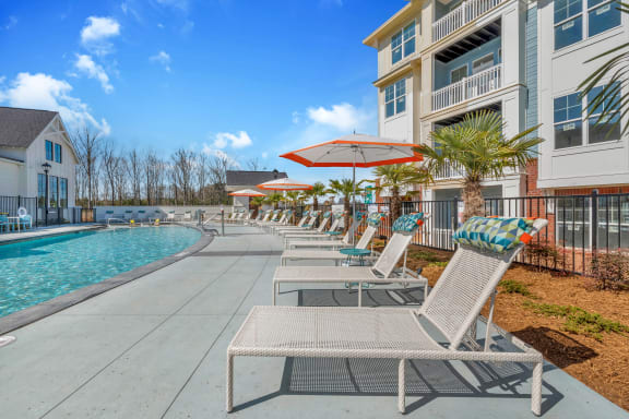 Poolside Relaxing Area at Alta Croft, Charlotte
