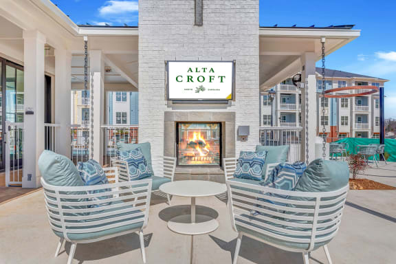Posh Lounge Area With Fireplace In Clubhouse at Alta Croft, Charlotte, 28269