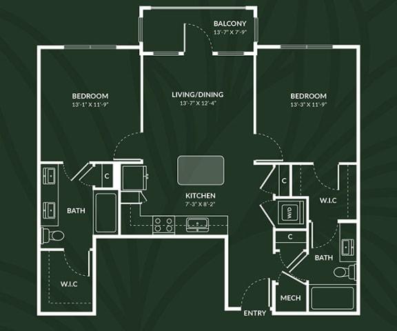 Floor Plan  B2.2  2 BED 2 BATH  ABERDEEN Floor Plan at Alta Croft, Charlotte, 28269