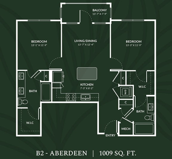 Floor Plan  B2 2 BED 2 BATH  ABERDEEN Floor Plan at Alta Croft, Charlotte, NC