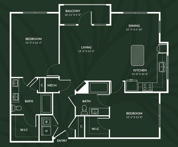 Floor Plan  B4.3  2 BED 2 BATH BAY  CLYDEBANK Floor Plan at Alta Croft, Charlotte, NC, 28269
