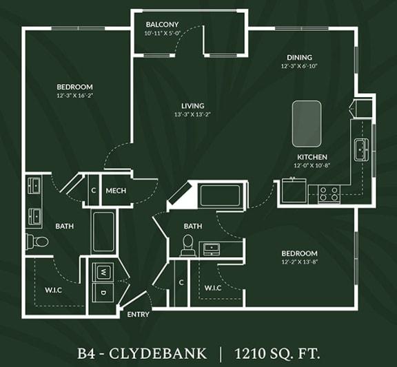 Floor Plan  B4 2 BED 2 BATH CLYDEBANK Floor Plan at Alta Croft, North Carolina, 28269