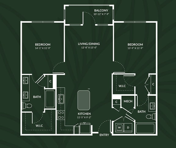 Floor Plan  B1.3  2 BED 2 BATH  DUNDEE Floor Plan at Alta Croft, North Carolina