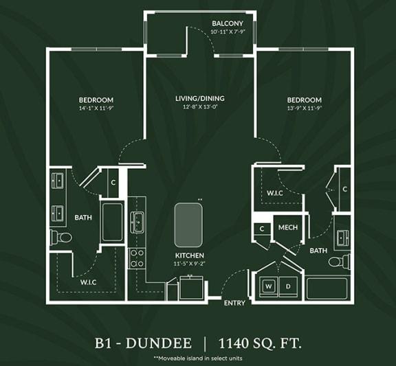 Floor Plan  B1 2 BED 2 BATH DUNDEE Floor Plan at Alta Croft, Charlotte, North Carolina