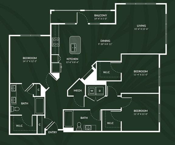 Floor Plan  C1a 3 BED 2 BATH ACCESS GLASGOW Floor Plan at Alta Croft, Charlotte