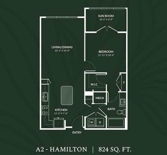 Floor Plan  A2  1 BED 1 BATH SUN RM  HAMILTON Floor Plan at Alta Croft, North Carolina, 28269