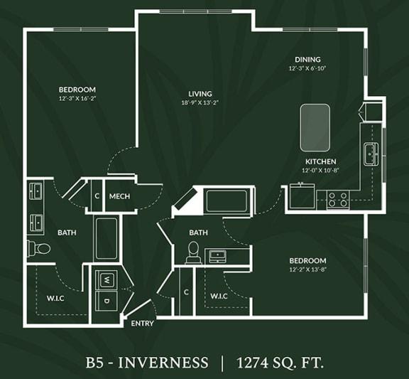 Floor Plan  B5 2 BED 2 BATH IVERNESS Floor Plan at Alta Croft, Charlotte, NC