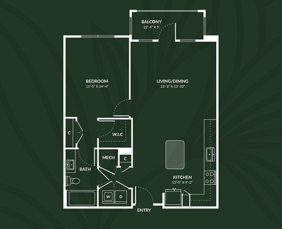 Floor Plan  A4.2  1 BED 1 BATH LIVINGSTON Floor Plan at Alta Croft, Charlotte, 28269